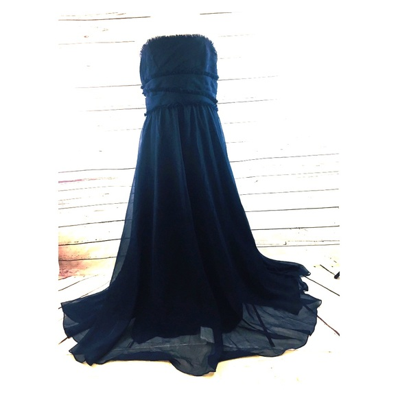 Womens Strapless Dress Navy Blue Size